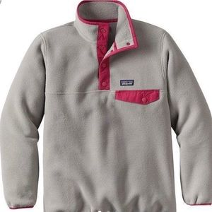 pink & grey Patagonia fleece pullover